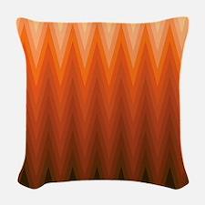 Brown Orange Beige Ombre Chevron Woven Throw Pillo