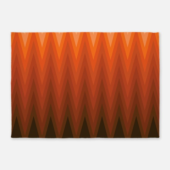 Brown Orange Beige Ombre Chevron 5'x7'Area Rug