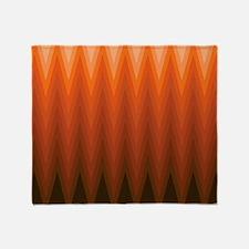 Brown Orange Beige Ombre Chevron Throw Blanket