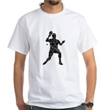 Distressed Table Tennis Player Silhouette T-Shirt