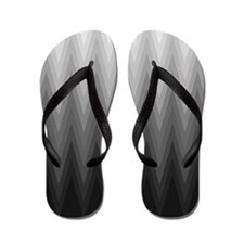 Ombre Black to Grey Chevron Pattern Flip Flops
