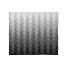 Ombre Black to Grey Chevron Pattern Throw Blanket