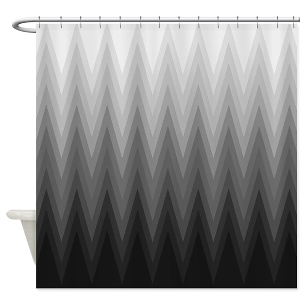 Black White Grey Shower Curtain White Black and Silver Gray
