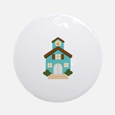 School Building Ornament (Round)