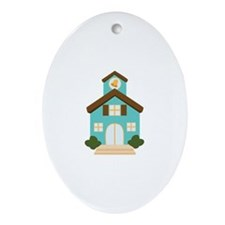 School Building Ornament (Oval)