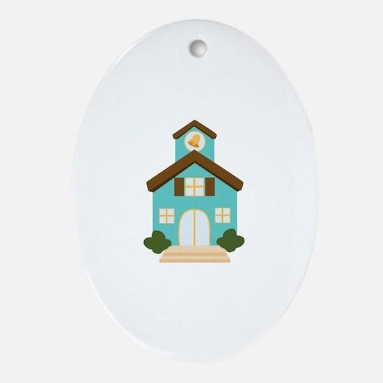 School Building Ornament (Oval)