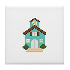 School Building Tile Coaster