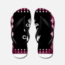 Keep Calm and Carry On Black Pink Flip Flops