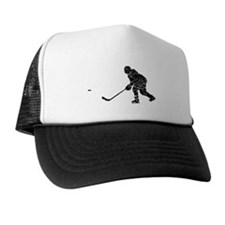 Distressed Hockey Player Silhouette Trucker Hat