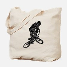 Distressed BMX Biker Silhouette Tote Bag