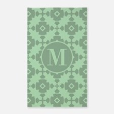 Mint Geometric Tile Pattern Custom Monogr Area Rug