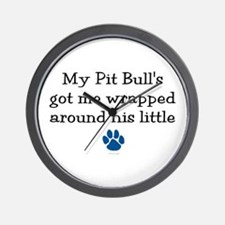 Wrapped Around His Paw (Pit Bull) Wall Clock