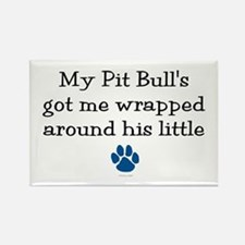 Wrapped Around His Paw (Pit Bull) Rectangle Magnet