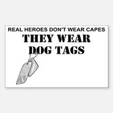 REAL HEROES WEAR DOG TAGS Sticker (Rectangle)