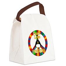 Peace Love Penguins Canvas Lunch Bag