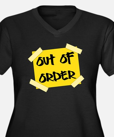 Out of Order Women's Plus Size V-Neck Dark T-Shirt