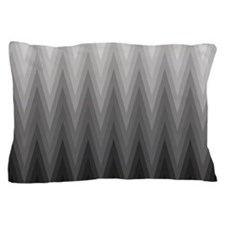 Ombre Black to Grey Chevron Pattern Pillow Case