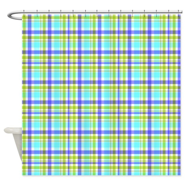 Teal Blue Green Plaid Shower Curtain By Flamingraphicdesigns