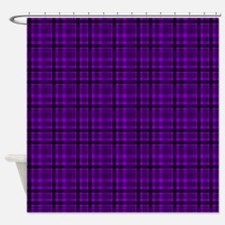 Dark Purple Plaid Shower Curtain
