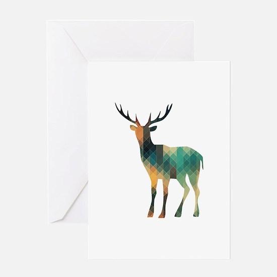 Geometric Deer Greeting Cards