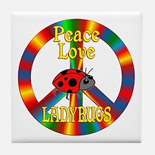 Peace Love Ladybugs Tile Coaster
