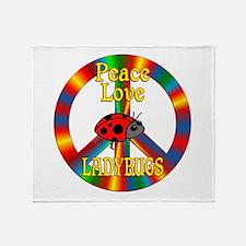 Peace Love Ladybugs Throw Blanket
