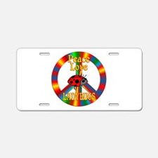 Peace Love Ladybugs Aluminum License Plate