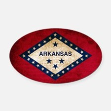 Vintage Flag of Arkansas Oval Car Magnet
