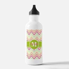 Chevron and Green Cust Water Bottle