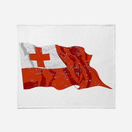 Tonga Flag (Distressed) Throw Blanket
