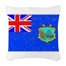 Old St Helena Flag (Distressed) Woven Throw Pillow