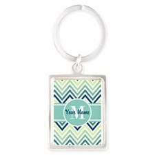 Aqua and Blue Chevron Custom Mon Portrait Keychain