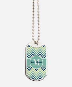 Aqua and Blue Chevron Custom Monogram Dog Tags