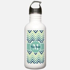 Aqua and Blue Chevron Water Bottle