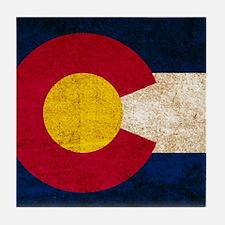 Vintage Flag of Colorado Tile Coaster