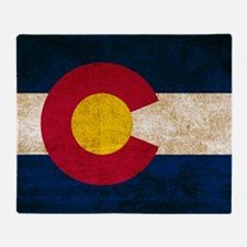 Vintage Flag of Colorado Throw Blanket