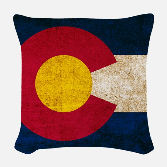 Vintage Flag of Colorado Woven Throw Pillow