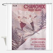 Chamonix, France Vintage Travel Poster Shower Curt
