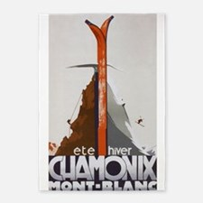 Chamonix, France Vintage Travel 5'x7'area