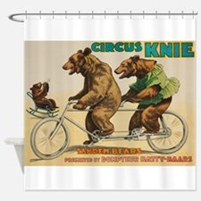Vintage Circus Bears Poster Shower Curtain