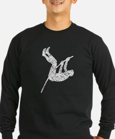 Distressed Pole Vaulter Silhouette Long Sleeve T-S