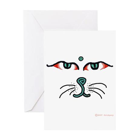 WATCHFUL EYES OF BUDDHA CAT Greeting Card