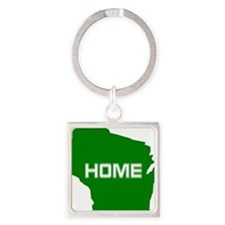 Wisconsin is Home Square Keychain