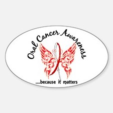 Oral Cancer Butterfly 6.1 Sticker (Oval)
