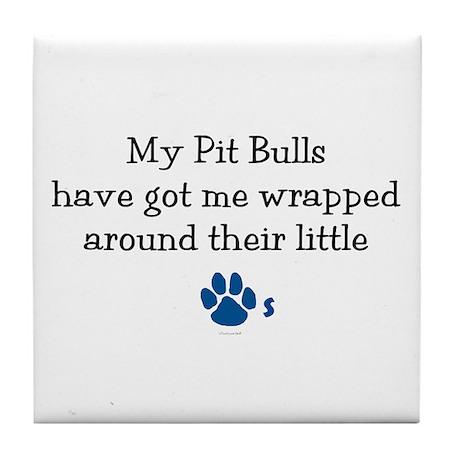 Wrapped Around Their Paws (Pit Bull) Tile Coaster