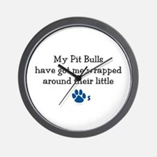 Wrapped Around Their Paws (Pit Bull) Wall Clock