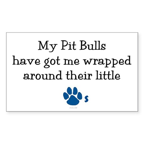 Wrapped Around Their Paws (Pit Bull) Sticker (Rect