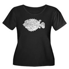 Distressed Puffer Fish Silhouette Plus Size T-Shir