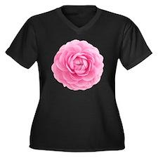 Ranunculus Women's Plus Size V-Neck Dark T-Shirt