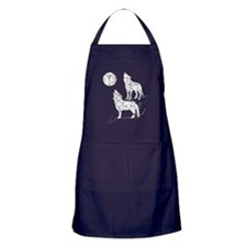 Distressed Coyotes Howling Silhouette Apron (dark)